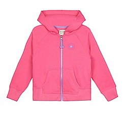 Converse - Girls' pink logo print zip through hoodie