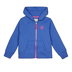 Converse - Girls' blue logo print zip through hoodie