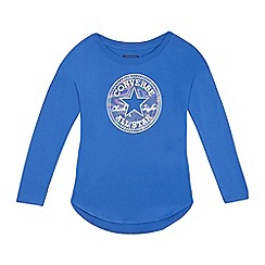 Converse - Girls' blue logo applique long sleeved top