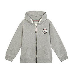 Converse - Boys' grey logo applique zip through hoodie