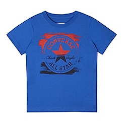 Converse - Boys' blue short sleeve painted chuck shirt