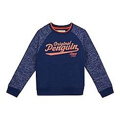 Original Penguin - Boys' navy and orange crew neck sweater