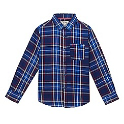Original Penguin - Boys' blue twill checked print shirt