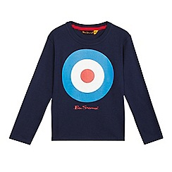 Ben Sherman - Boys' navy target logo print long sleeved top