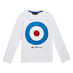 Ben Sherman - Boys' white target logo print long sleeved top