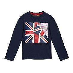 Ben Sherman - Boys' navy Union Jack logo print top