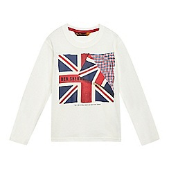 Ben Sherman - Boys' cream Union Jack logo print top