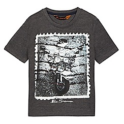 Ben Sherman - Dark grey motorbike stamp print t-shirt