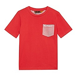 Ben Sherman - Boys' red dogtooth print pocket t-shirt