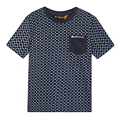 Ben Sherman - Boys' navy diamond print pocket t-shirt