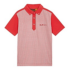 Ben Sherman - Boys' red dogtooth print polo shirt