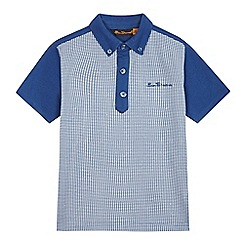 Ben Sherman - Boys' navy dogtooth print polo shirt