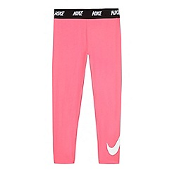 Nike - Girls' pink logo applique sports leggings
