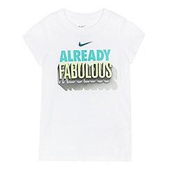 Nike - Girls' white 'Already fabulous' slogan print t-shirt