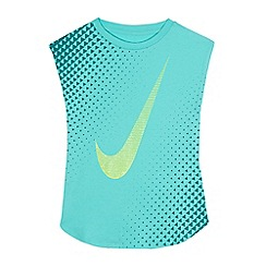 Nike - Girls' turquoise sparkle swoosh print top