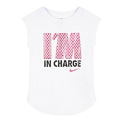 Nike - Girls' white 'I'm in charge' logo print vest