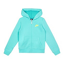 Nike - Girls' turquoise logo print zip through hoodie