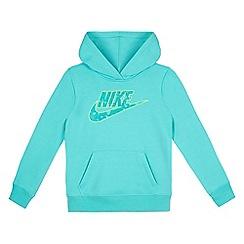 Nike - Girls' turquoise logo print hoodie