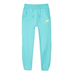 Nike - Girls' turquoise logo print sweatpants