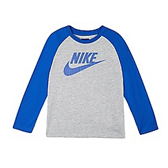 Nike - Boys' heather grey long sleeve logo shirt