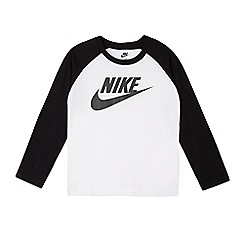 Nike - Boys' white long sleeve logo shirt