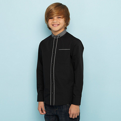 bluezoo - Boy+s black contrast trim shirt
