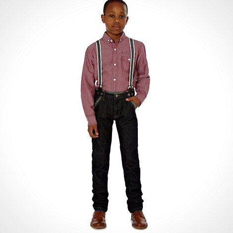 bluezoo - Boy+s black skinny jeans with striped braces