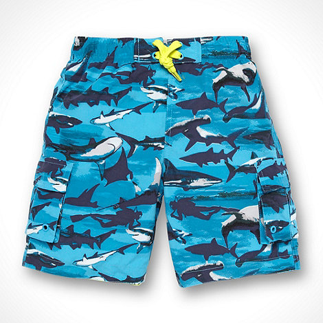 bluezoo - Boy+s blue shark print swimming shorts