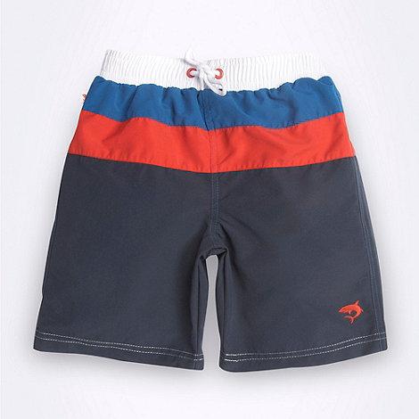 bluezoo - Boy+s navy cut and sew striped swim shorts