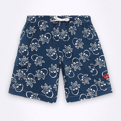 bluezoo - Boy+s navy skull and crossbones swim shorts
