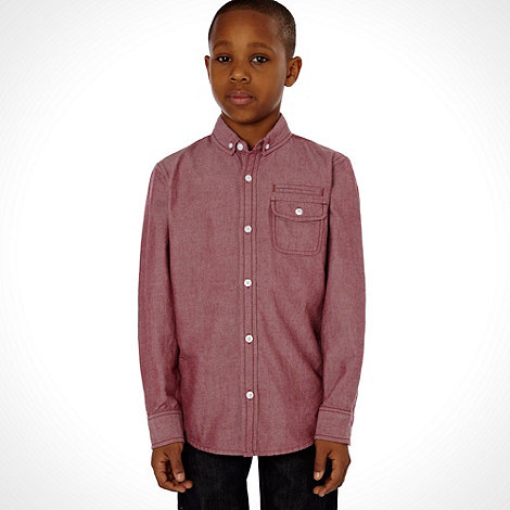 bluezoo - Boy+s red long sleeved oxford shirt