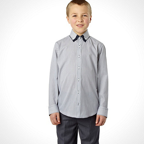 bluezoo - Boy+s navy long sleeved pinstripe shirt