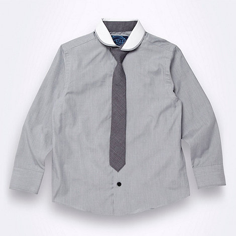 bluezoo - Boy+s grey shirt and chambray tie set