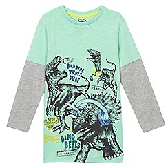 bluezoo - Boys' green dinosaur print mock sleeve t-shirt