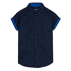 bluezoo - Boys' navy geometric print shirt