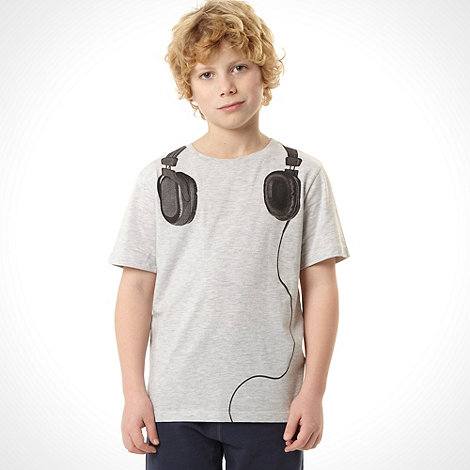 bluezoo - Boy+s grey headphones t-shirt