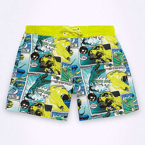 bluezoo - Boy+s lime green comic strip printed board shorts