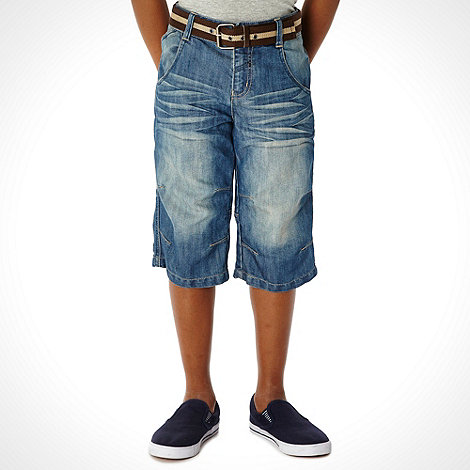 bluezoo - Boy+s blue belted denim shorts