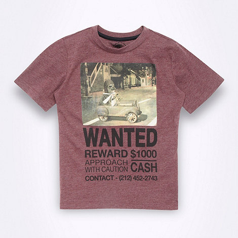 bluezoo - Boy+s dark red +Wanted Meerkat+ t-shirt