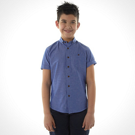 bluezoo - Boy's blue short sleeved chambray shirt