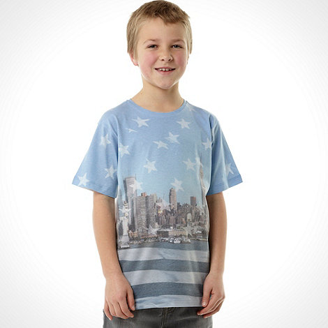 bluezoo - Boy+s blue New York skyline printed t-shirt