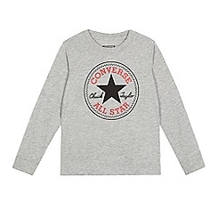 Converse - Boys' grey logo print long sleeved topß