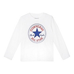 Converse - Boys' white long sleeve logo shirt