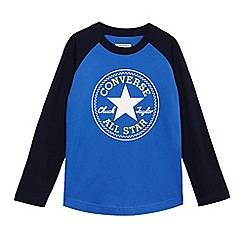 Converse - Boys' blue logo print long sleeve shirt