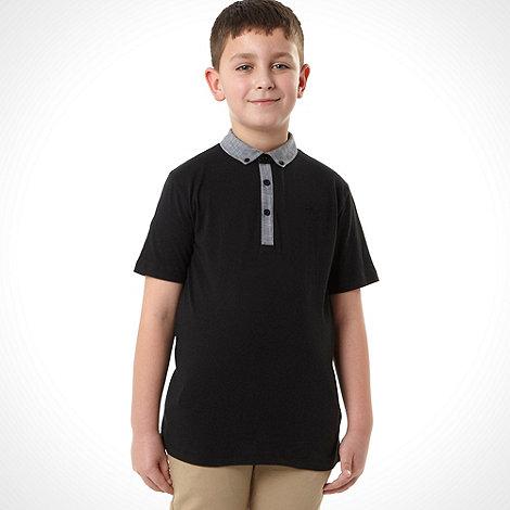 bluezoo - Boy+s black chambray trim polo shirt