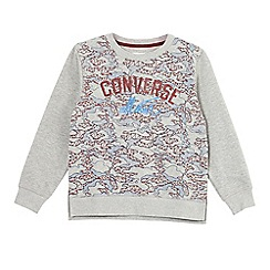 Converse - Boys' grey geometric logo print jumper