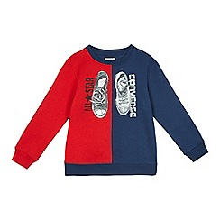 Converse - Boys' navy and red trainer print jumper