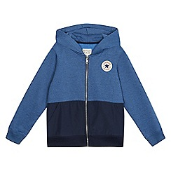 Converse - Boys' blue knit woven full zip hoodie