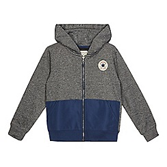 Converse - Grey and blue logo applique zip through hoodie