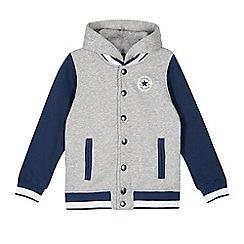Converse - Boys' grey knit varsity jacket